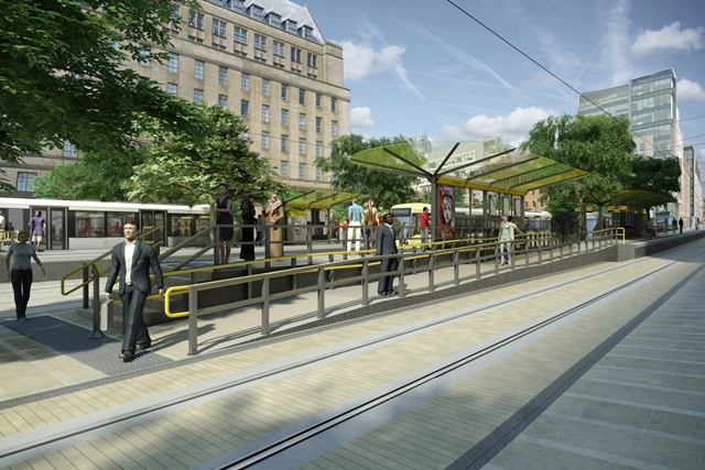 Artist's impression of St Peter's Square courtesy of Metrolink