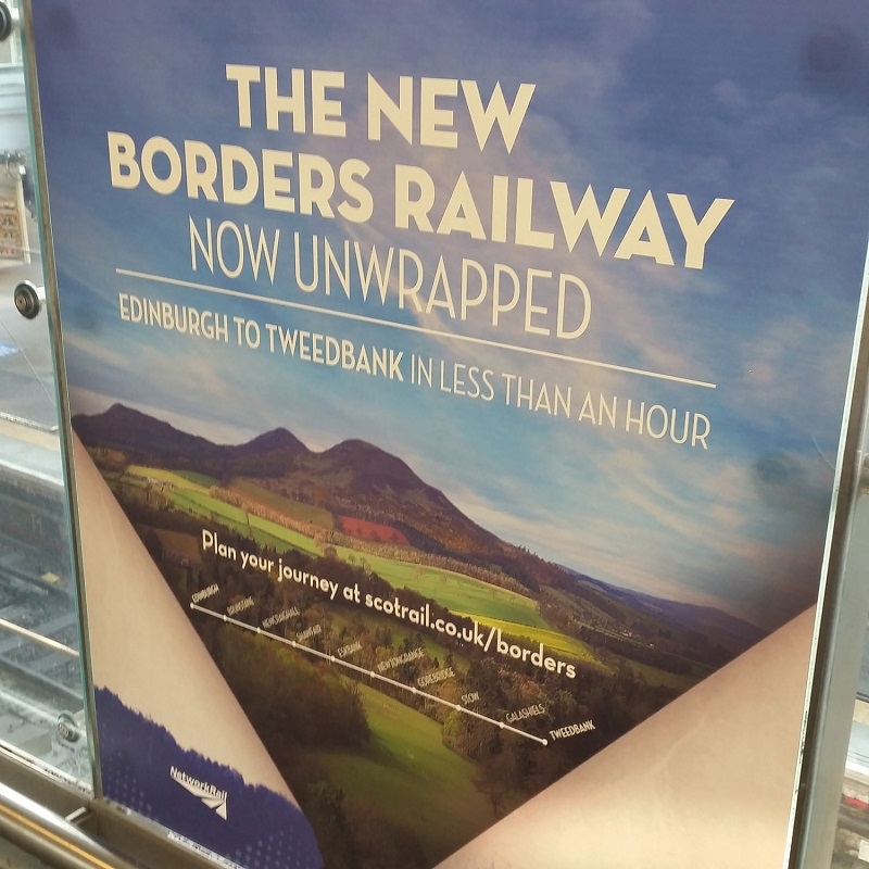 2 Borders Railway poster at Edinburgh Waverley Allan Maclean