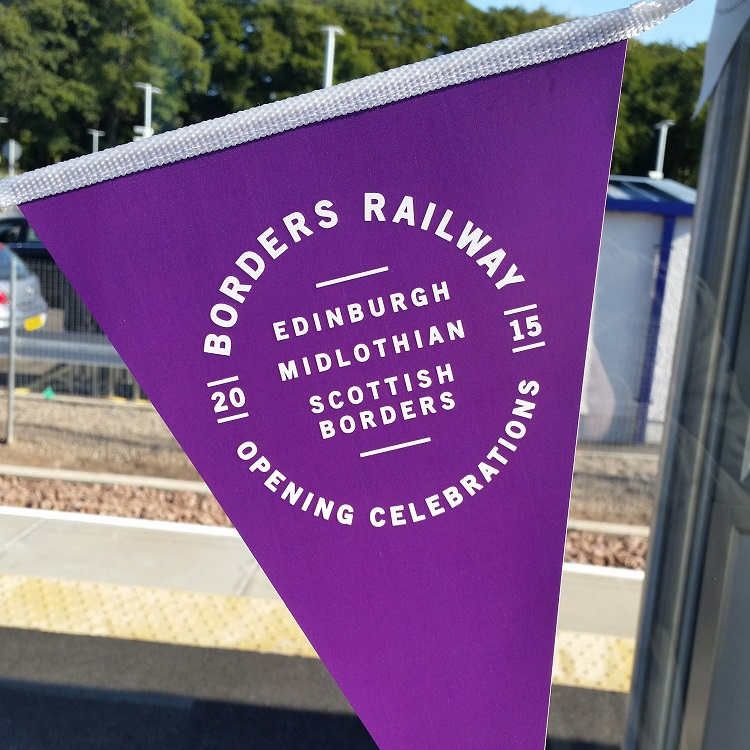 1 Borders line opening banner at Tweedbank Allan McLean
