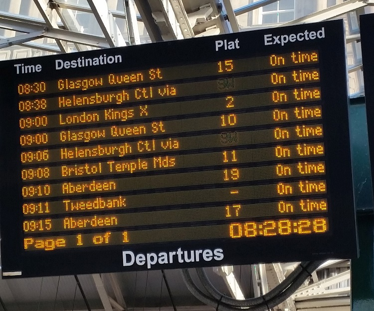 3 Tweedbank on the departure screen at Edinburgh Waverley by Allan McLean