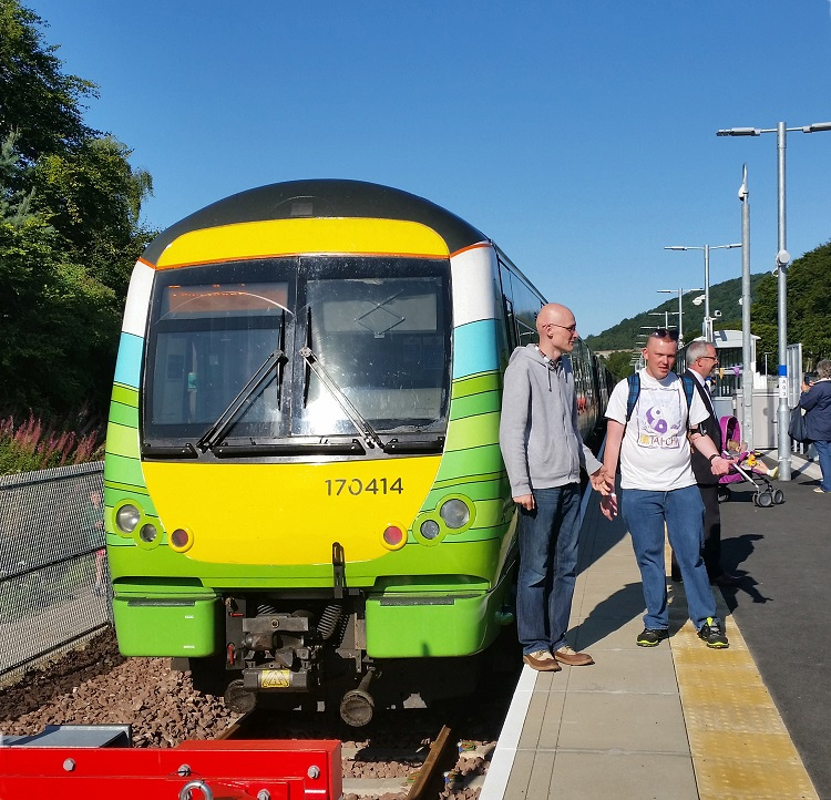 5 first public Borders train arrives at Tweedbank by Allan McLean