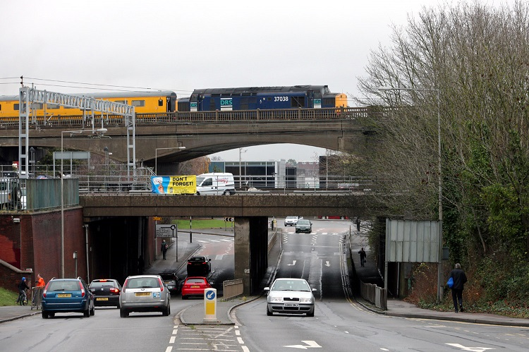 1 Train on Bletchley flyover by phil marsh
