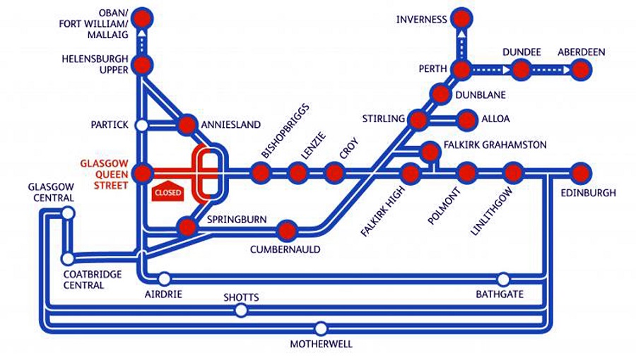 Train Routes In Scotland Map.Glasgow Queen Street Passengers One Way System Planned To Help For